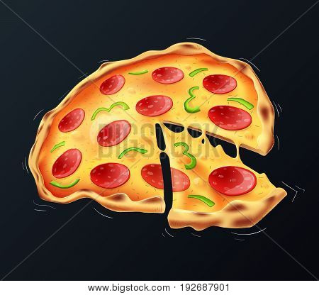 Pizza - well-structured and fully editable vector file. Simply turn off background layer to use it as isolated vector object.