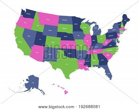 Political map of USA, United States of America, in four colors with white state names labels on white background. Vector illustration.
