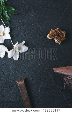 Flowers, Smoker And Tools On A Dark Concrete Background. Concept Of An Apiary
