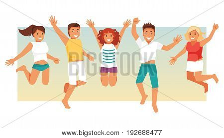 Group jumping happy people on summer vacation. Joint vacation friendship. Vector illustration