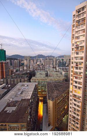 hongkong urban area in sunset moment