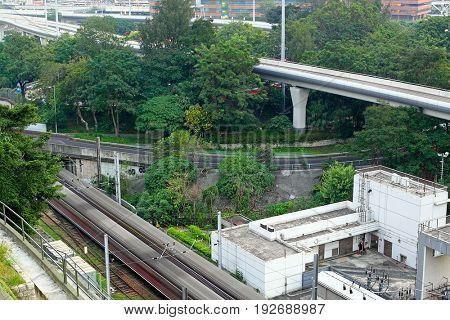 Train rail in city
