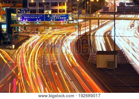 Traffic night in urban city