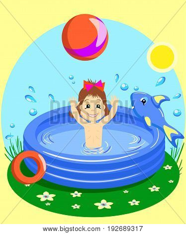 vector Illustration of a Young girl Happily throwing a ball in rubber pool isolated