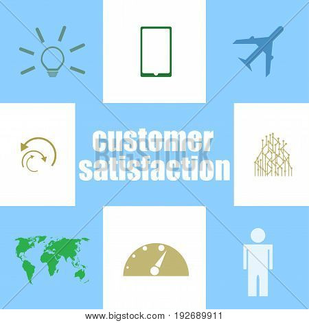 Text Customer Satisfaction. Business Concept . Infographic Elements. Icon Set
