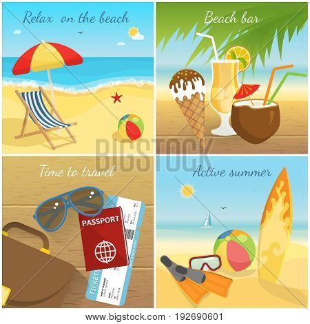 Colorful summer vacation concept with recliner umbrella cocktails ice cream sunglasses tickets bag documents sport equipment vector illustration