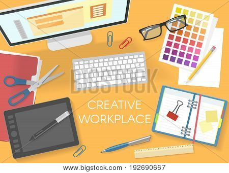 Colorful office workplace top view template with desktop computer documents graphic tablet stationery glasses scissors vector illustration