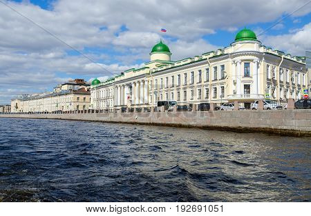 SAINT PETERSBURG RUSSIA - MAY 3 2017: Building of Leningrad Regional Court on Fontanka River embankment St. Petersburg Russia