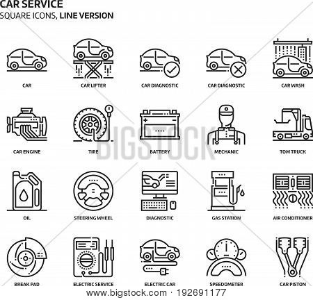 Car Service Service, Square Icon Set