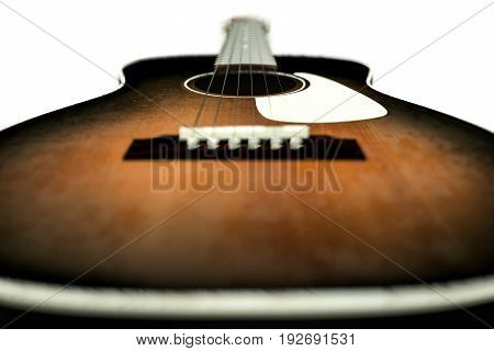 3d illustration of an acoustic guitar isolated on white background