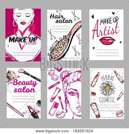 Make up shop poster set with hair salon make up artist herbal cosmetic descriptions vector illustration