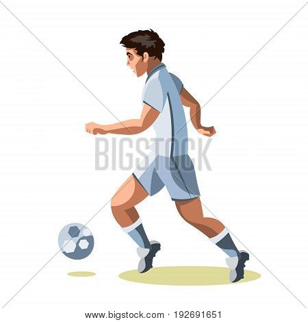 Soccer player quick shooting a ball. Isolated on a white background. Vector illustration.