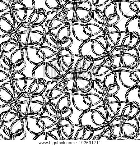 Seamless black and white pattern from the rope tangled marine ropes and nautical rope knot