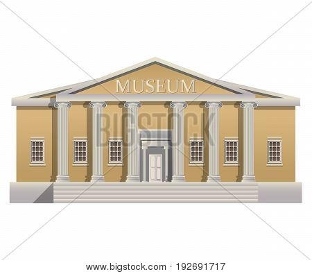 Big building with columns in simple cartoon style. Big building with columns isolated illustration.