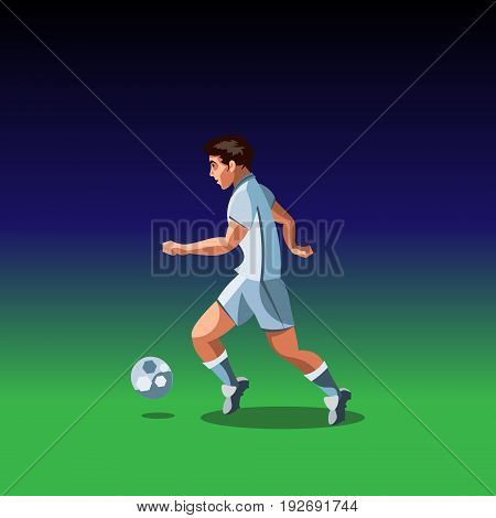 Soccer player with a graphic trail. Vector illustration