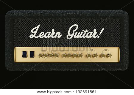 3d illustration of a guitar amplifier isolated on black background
