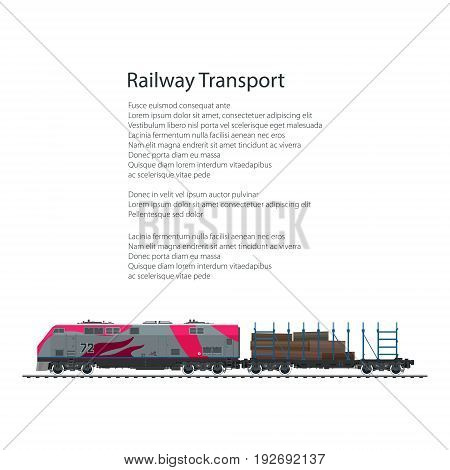 Brochure Locomotive with Railway Platform with Timber Train Isolated on White Background and Text Rail Freight Poster Flyer Design Vector Illustration