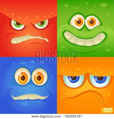 Cartoon Monster Face Set