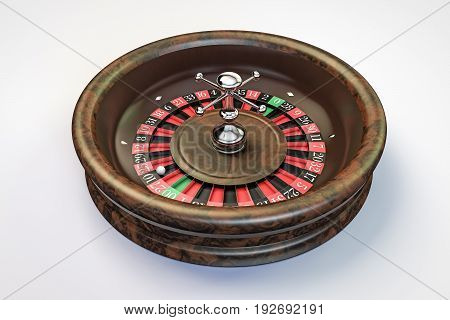 3d illustration of a roulette wheel isolated on white background