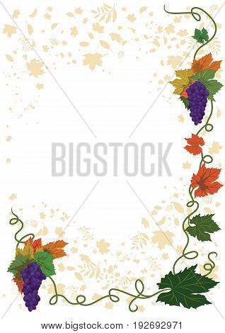 vector autumnal frame with grapes for corner design