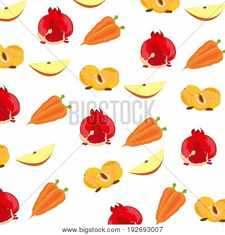 Background from ensemble fruit on white.Vector illustration