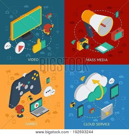 Isometric modern technology square composition with video mass media games internet service devices and gadgets vector illustration