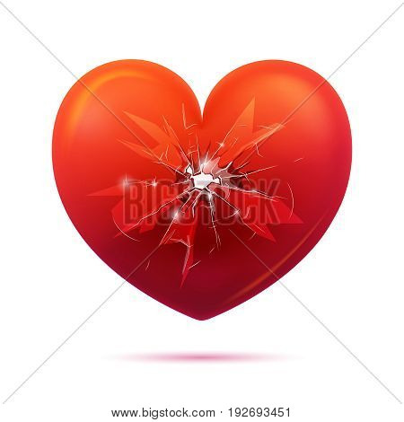 Concept of broken glass red heart with hole and cracks sparkles on white background isolated vector illustration