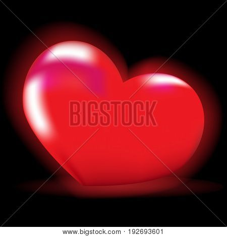 Bright vector illustration. Luminous red heart on a black background