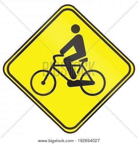 Road Sign Used In Uruguay - Bicycle Crossing