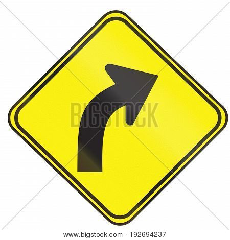 Road Sign Used In Uruguay - Curve Between 15 And 90 Degrees To Right