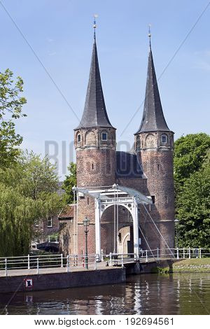 The historical oostpoort is the only remaining city gate in Delft in the Netherlands
