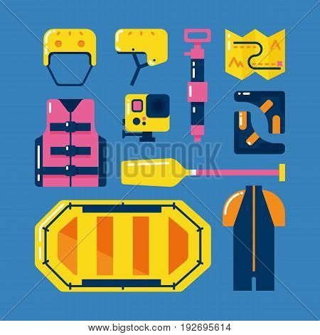 Main rafting equipment and gear. Water hiking.