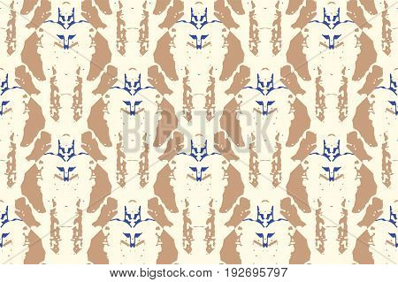 Watercolor Vector Seamless Background in Ethnic Style. Ikat Spring Endless Backdrop With Geometry Pattern. Tribal Exotic Allover Print.