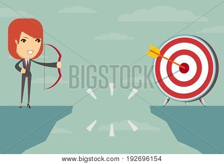 successful businesswoman aiming target with bow and arrow