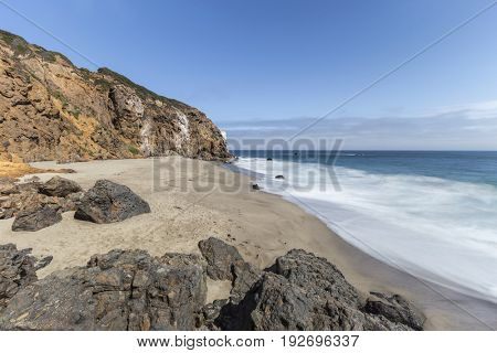 Pirates Cove with motion blur water near Point Dume in Malibu, California.