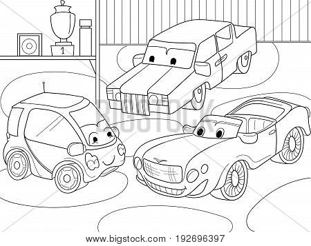 Childrens cartoon coloring book for boys. Vector illustration of a garage with live cars. Black lines on a white background
