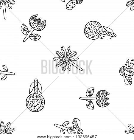 Vector Hand Drawn Seamless Pattern, Decorative Stylized Black And White Childish Flowers. Doodle Ske