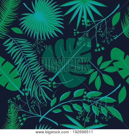 Exotic leaves rainforest. Seamless realistic tropic leaf pattern. Palm leaf banana leaf hibiscus plumeria flowers. Jungle trees.Botanical floral illustration. Set of vector trendy illustrations