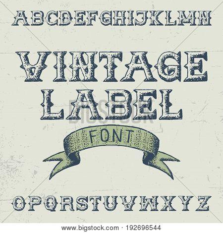 Vintage Label Font Poster with alphabet on the grey background vector illustration