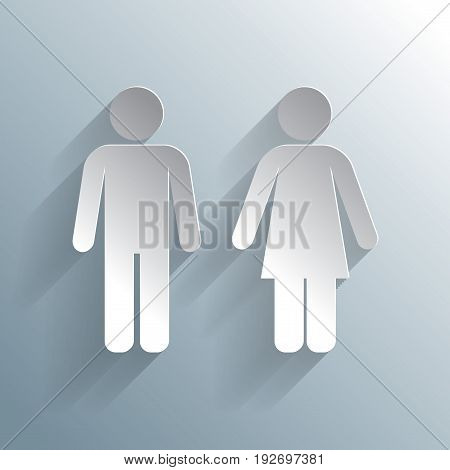 Male Female WC Icon with male and female silhouetted figures vector illustration