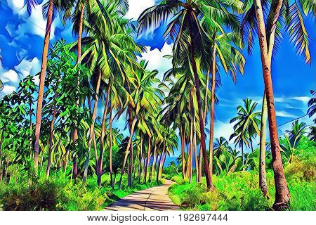 Coco palm tree with fluffy green leaves on blue sky. Tropical nature digital illustration. Exotic vacation banner template. Tropic day background. Summer holiday journey. Walking path in green jungle