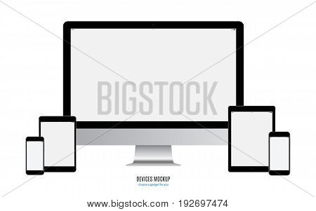 mockup devices: smartphone tablet and computer monitor with blank screen isolated on white background. stock vector illustration eps10