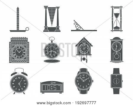 Time and clocks signs set. Watch icons. Flat line style illustrations isolated. From retro to modern collection. Classic hourglass and digital design