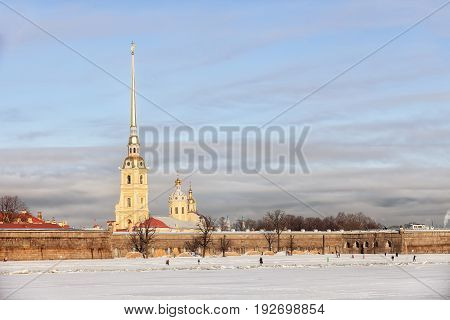 Peter and Paul Fortress in the winter Saint Petersburg Russia