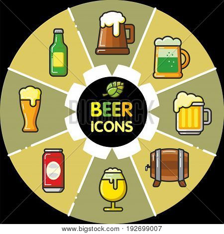 Infographic set of beer icons and alcohol beverages. Vector Isolated flat colorfull illustration.