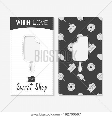 Set of business cards with hand drawn silhouettes. Sweet shop brand identity. Vector illustration