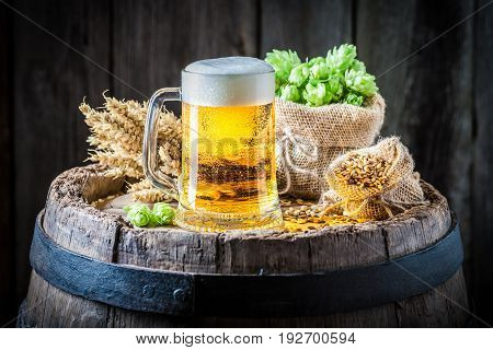 Light Beer With Foam, Hops And Wheat On Barrel