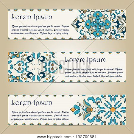 Vector set of colorful horizontal banners for business and invitation. Portuguese, Azulejo, Moroccan; Arabic; asian ornaments. Geometric and floral motifs