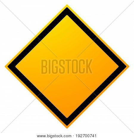 Square Empty Warning Sign Isolated On White