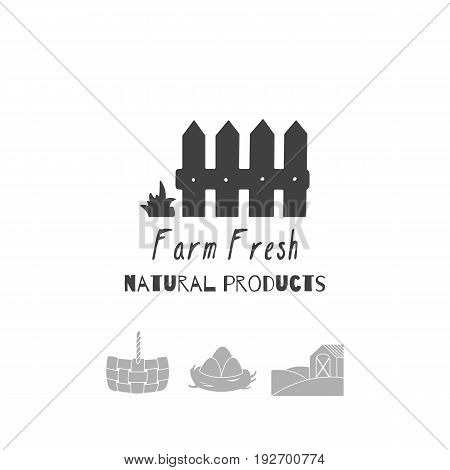 Set of hand drawn silhouettes - wooden fence, straw basket, eggs in nest and farm field with house. Farm market logo templates for craft food packaging or brand identity. Vector illustration